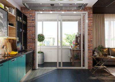 выход на балкон на кухне